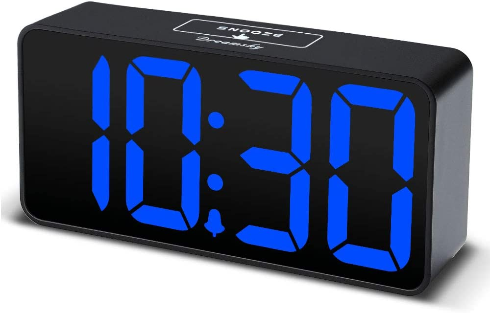 DreamSky Compact Digital Alarm Clock with USB Port for Charging, Adjustable Brightness Dimmer, Blue Bold Digit Display, Adjustable Alarm Volume, 12/24Hr, Snooze, Bedroom Desk Alarm Clock.