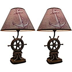 Resin Table Lamps Set Of 2 Nautical Ship`S Wheel Table Lamps 19 Inch 12 X 19 X 12 Inches Multicolored