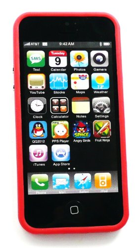 Emartbuy ® Apple Iphone 5 Lcd Screen Protector Und Moulded Bumper Frame Gel Cover / Case Rot / Klar