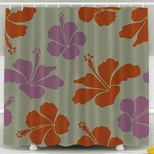 ROOLAYS Shower Curtain,Shower Curtain, Hawaiian Shirt Hibiscus Pattern in Brown Violet Neutral Colors Waterproof Decorative for Home Décor 78x72 Inch Bathroom Fabric Shower Curtains