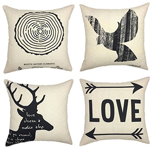 Decorative Deer (YOUR SMILE Deer Bird Love Decorative Throw Pillow Case Cushion Covers Square 18 x 18,Set of 4 (Natural Element))