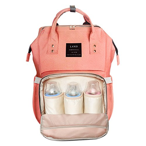 Leermart Baby Bag Maternity Nappy Diaper Bag Baby Nursing Large Capacity Travel Backpack for Mummy & Dad (orange) by Leermart