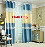 WPKIRA New Living Room Perspective White Tulle Lace Voile Floral Sheer Curtain and Blue Beige 2 Colors Linen Curtain Cloth Stitching Window Curtain Drapes For Glass Sliding Door 1 Panel W75 x L84 inch