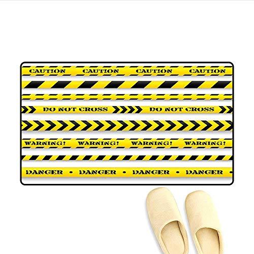 Bath Mat Cautionary Tapes Arrangement Danger Warning Expressing Banners Security Theme Floor Mat Pattern Black Yellow (Durable Latex Floor Mats)