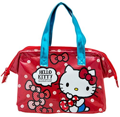 """* SANRIO Hello Kitty Picnic Cooler Bag, Red Color with Blue Straps, Size 14.5""""x7""""x5"""""""