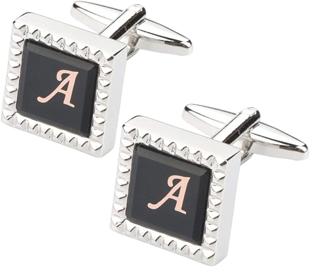 HHGEE XING Mens Cufflinks Classic Shirt Business Wedding Initials Alphabet with Gift Box A-Z