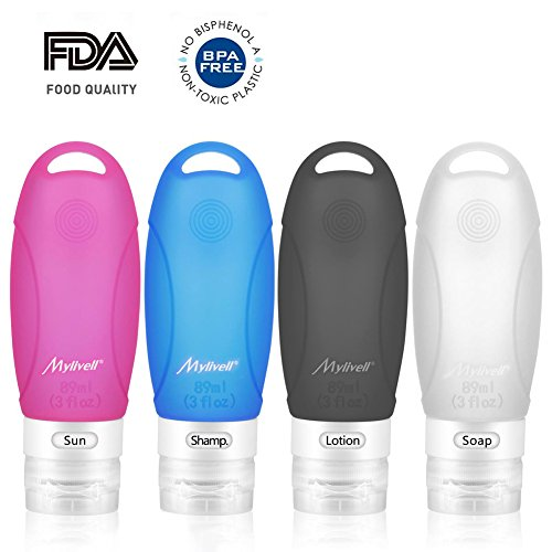Silicone Travel Bottles Set Mylivell 4 Pack 3 Oz Sucker and Hook BPA Free TSA approved Leak Proof Refillable Containers for Business Flying Shampoo Lotion Sun Soap Portable outdoor Travel bottle