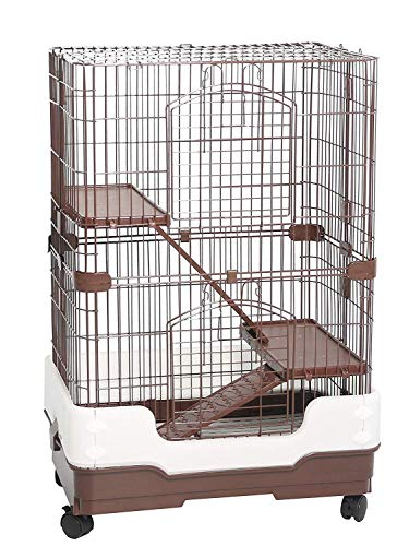 (Homey Pet 3 Tiers Chinchilla Hamster Rat Ferret Cage with Sleeping Platform, Pull Out Tray, Urine Guard and Lockable Casters, Brown, L26 x W17 x H38)