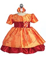 Baby Girls 3M-4T Fall Party Dress Orange with Sequins
