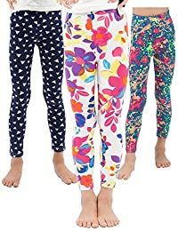 WEWINK PLUS Girls Toddler Leggings Pants 3 Pack Stretchy Printing Flower Classic Leggings for Kids 4-13 Years