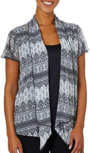 - Sara Michelle Womens Mixed Damask Short Sleeve Duet Top Small White/Black