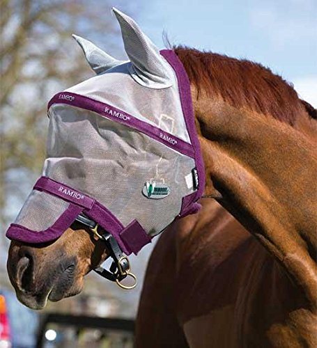 Rambo Plus Fly Mask Horse Silver/Purple by Rambo (Image #1)