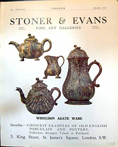 Old Original Antique Victorian Print Whieldon Agate Ware Stoner Evans Ship Tugs C. A. Wilkinson 1915 223G401