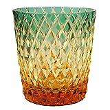 Crystal Double Old Fashioned Rocks Glass 8.4oz Edo Kiriko Take-ami Bamboo Basket Motif Design Cut Glass - Green x Amber [Japanese Crafts Sakura]