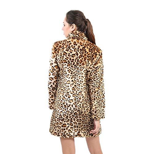 Mujer Artificial Mujer A Leopardo Lujo Piel La Abrigo Para Chamarra De Moda Invierno Elegante Sintética Y Cálido Cálido Fx8ZwT4q