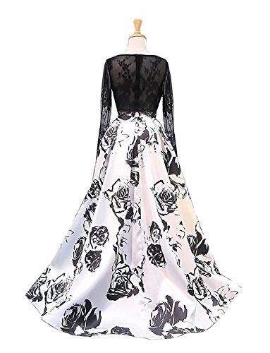 Aurora Bal Imprimé Floral Femmes Mariée Robe Longue Robe De Soirée Formelle En Noir 3