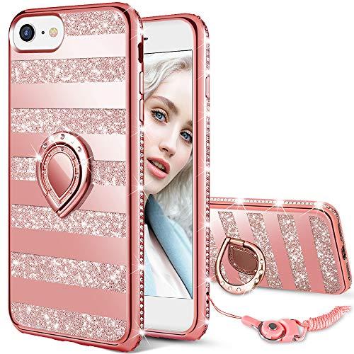 Maxdara Case for iPhone 8 iPhone 7 Glitter Case Glitter Striped Bling Shiny Diamond Rhinestone Bumper Ring Grip Holder Kickstand Cute Girls Women Cover Case for iPhone 6 6s 7 8 (Rosegold) (Iphone Case Rim Gold 6)