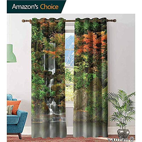 (LQQBSTORAGE Lake House Decor,Kitchen Curtains Valances,Wild Small Cascade Pouring Over Steep Stones Peaceful Fall Motion Scene,Blackout Draperies for Bedroom,Orange Brown)