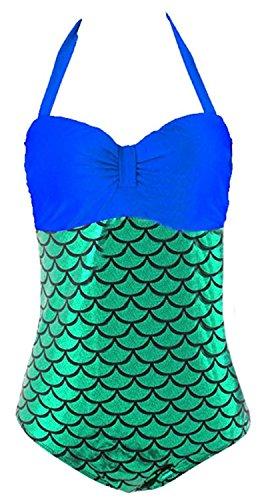 David Salc Women's Halter Splice Mermaid Plus Size Bikini Swimwear Sets Sapphire BlueX-Large (Sims 3 Halloween Makeup)