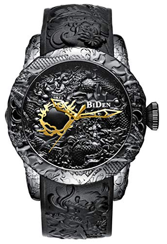 - Men Fashion 3D Engraved Dragon Quartz Watch Luxury Brand Big dial Waterproof Sport Creative Wristwatches (Black)