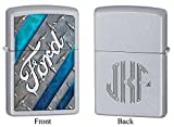 Personalized Zippo Ford Satin Chrome Lighter with Free Monogram