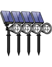 URPOWER Solar Lights Waterproof Solar Lights Outdoor 2-in-1 Adjustable Solar Spotlight Wall Light Auto On/Off Solar-Powered Landscape Lighting for Garden Yard Pathway Swimming Pool (4Pack-Cool White)