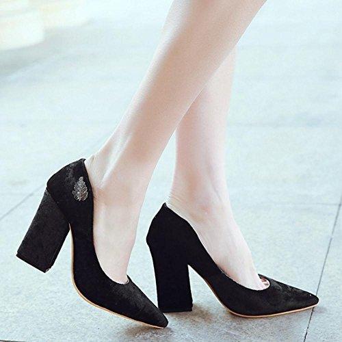COOLCEPT Zapato Mujer Moda Tacon Ancho alto Sin Cordones Puntiagudo Court Zapatos For Date Negro