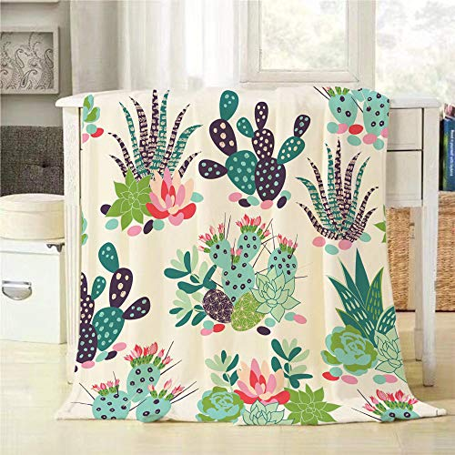 Mugod Desert Cactus Throw Blanket Succulents and Cactuses Trendy Tropical Design for Textile Extra Soft Warm Lightweight Cozy Luxury Suitable for Bedding Sofa Couch