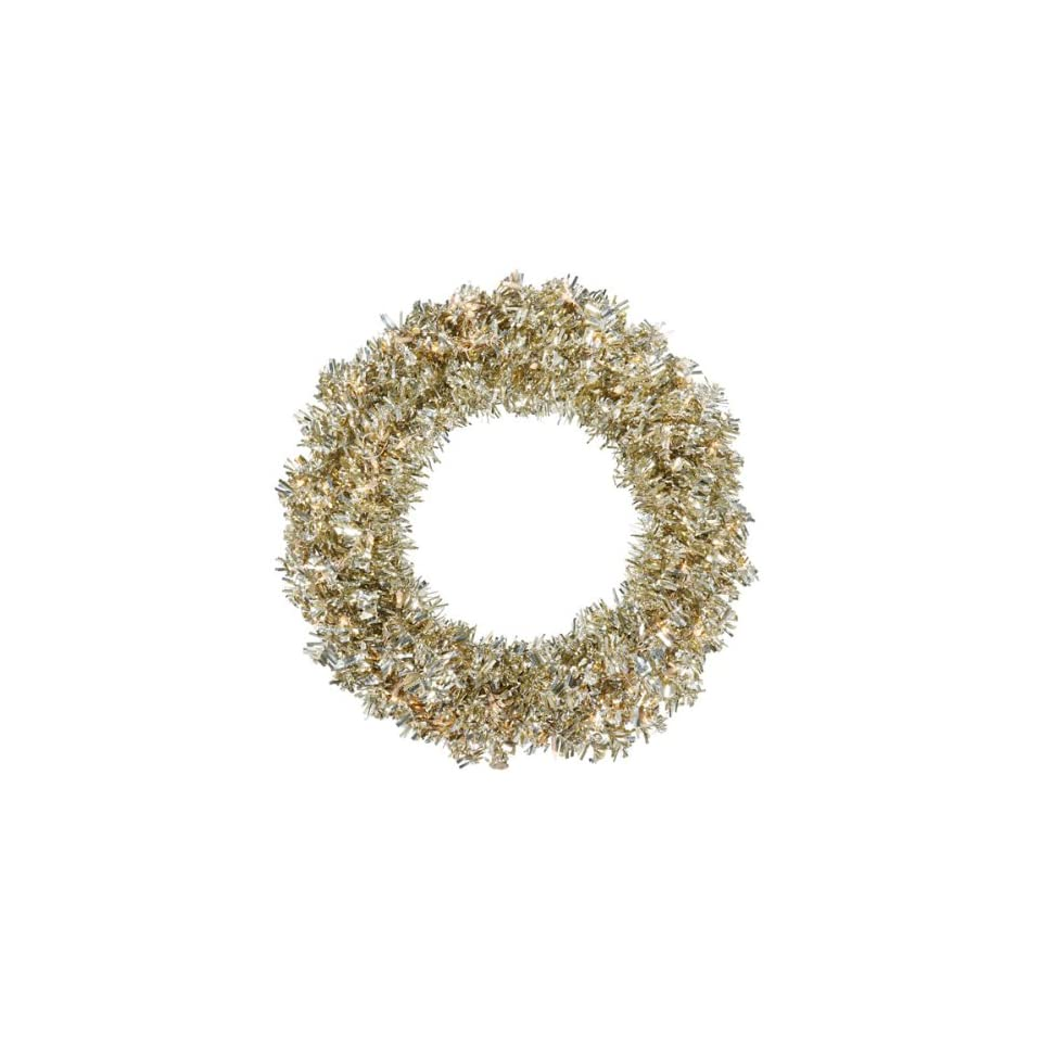30 Pre Lit Champagne Wide Cut Tinsel Artificial Christmas Wreath   Clear Lights
