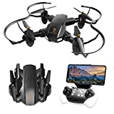 Drone with Camera, TOPVISION Foldable Quadcopter RC Drone with WiFi FPV HD Camera Live Video, Altitude Hold, One Key Start, APP Control, Black
