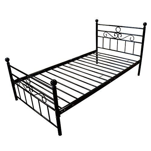 WALCUT Twin Size Metal Bed Frame Headboard Footboard Mattress Foundation Platform Bed Adults Kids No Box Spring Needed Black