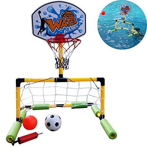 OLizee 2 in 1 Floating Water Basketball and Soccer Goal Pool Set with 2 Nets 2 Balls and Pump (Basketball Goal Target)