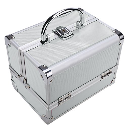 Extendable Portable Makeup Train Case Organizer with Mirror Jewelry Box Lockable Cosmetic Travel Case Organizer Storage Box with 2 Keys for Women, 7.8 x 6.05 x 6.05inch (Silver Pink) by Elopea (Image #2)