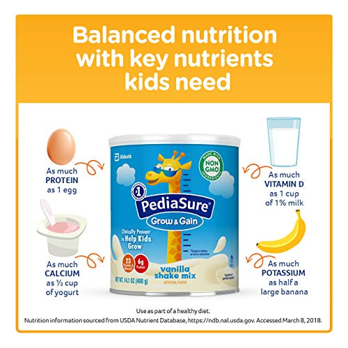 PediaSure Grow & Gain Vanilla Shake Mix, Nutrition Shake for Kids, 14.1 oz, 6 count by Pediasure Powder (Image #6)
