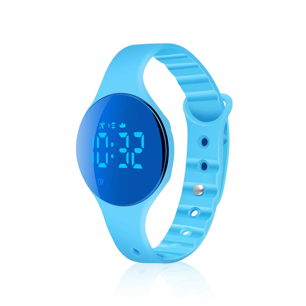 iGANK Fitness Tracker Watch, T6A Non-Bluetooth Smart Bracelet Walking Pedometer Watch Step Counter/Calorie Burned/Distance/Alarm/Stopwatch for Kids Men Women (Brightblue) by iGANK