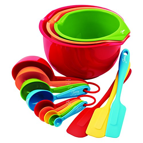 Fiesta 15-Piece Prep and Serve Baking Set, 4 Measuring Spoons, 4 Measuring Cups, 3 Spatulas, 3 Serve Bowls