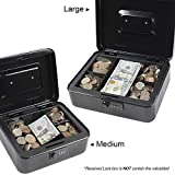 Cash Box with Combination Lock Safe Metal Money Box with Money Tray for Security Lock Box