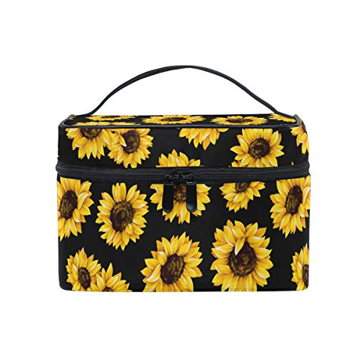 ZOEO Makeup Train Case Sunflower Black Pattern Korean Carrying Portable Zip Travel Cosmetic Brush Bag Organizer Large for Girls Women