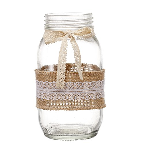 V-More Rustic Mason Jar Flower Vase Glass Candle Holder with Burlap Lace Rap and Lace Bowknot 6.75-inch Tall for Home Decor Wedding Party and Celebration (Set of - Lace Vases