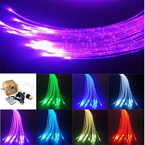 16W Twinkle Fiber Optic Sensory Lights, Curtain Decorative RGBW Flash Point Sparkle Lamp Kit 300pcs 1.0mm 9.8ft