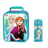 themos cooler - Frozen Elsa & Anna Soft Upright Insulated Lunch Kit with Disney Thermos Funtainer Set | Lunch Box or Gift for Girls, Kids, Student, School, Picnic |