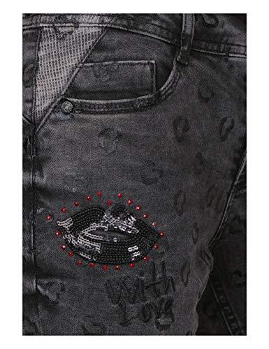 Wash Mujer printed Para Vaqueros Slim Mehrfarbig One Black 11587 Street wY7Ixq85