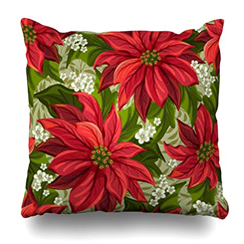 Decor.Gifts Throw Pillow Covers Revival Red Pattern Wonderful Poinsettia Christmas Nature Event Flower Pointsettia Victorian Pointsetta Cushion Case Square Size 20 x 20 Inches Home Decor Pillowcase