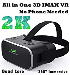All in one VR Headset Android, 2K Display Interactive Standalone VR Glasses for 3D Movie Game 360° Panorama Theater with OTG WIFI TF Card Input, 9-Axis Virtual Reality Headset System (No Need Phone)You can use this VR headset all in one to en...
