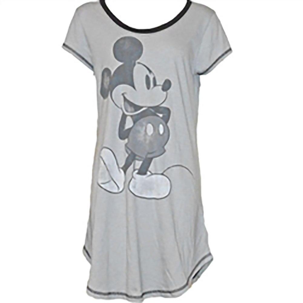 Grey Black Disney Classic Mickey Mouse Womens Pajama Nightie Dorm Shirt