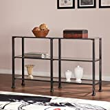 Harper Blvd Distressed Black Metal and Glass 3-Tier Sofa/ Console Table