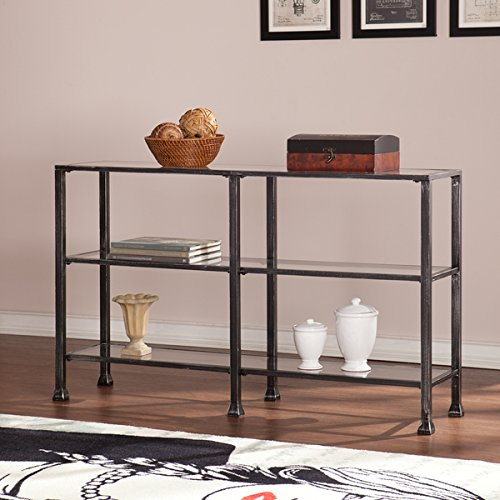 Harper Blvd Distressed Black Metal and Glass 3-Tier Sofa/ Console Table by Harper Blvd