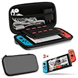 EEEKit 2in1 Starter Kit for Nintendo Switch Console, Portable Travel Hard Shell Carrying Case, 3 Packs Clear HD Full Coverage Screen Protector Film Guard
