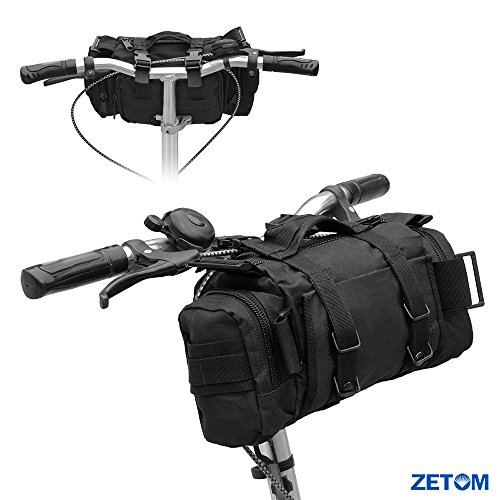ZETOM Cycling Bicycle Bike Bag, Multi-purpose Heavy-duty Waterproof 800D Nylon Oxford Outdoors Bag, Bike Handlebar and Top Tube Bag, Shoulder Bag Waist Bag Messenger Bag (Black) by ZETOM (Image #5)