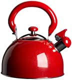 KittAmor 3 Quart Julia Whistling Stainless Tea Kettle, Red